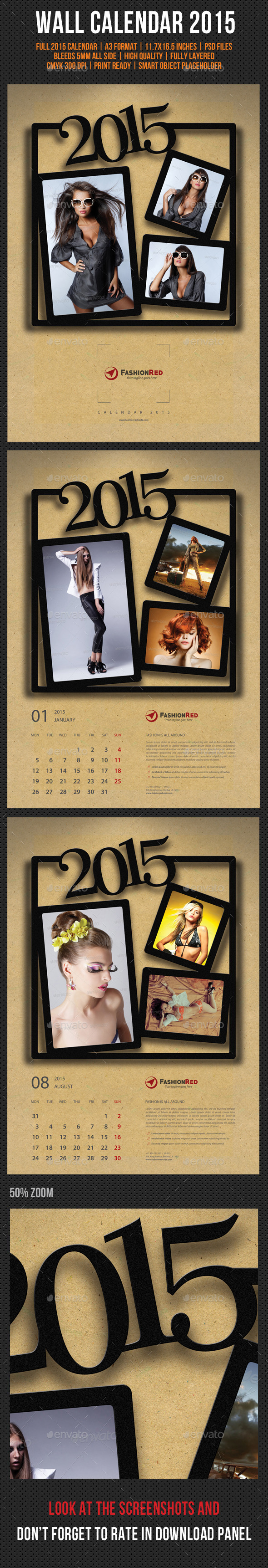 GraphicRiver Wall Calendar A3 2015 V04 9644963