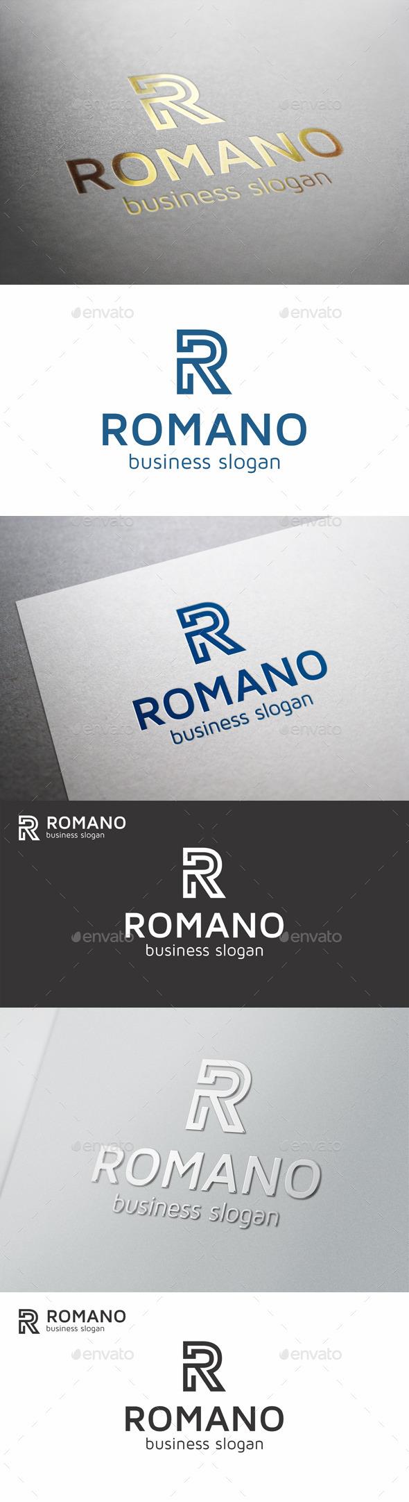 GraphicRiver R Letter Monogram Logo Romano 9645456