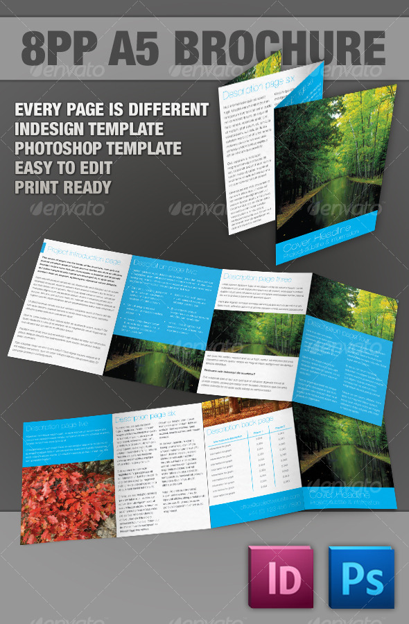 8pp A5 Brochure InDesign & Photoshop templates