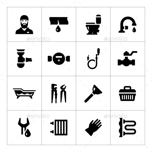 GraphicRiver Set Icons of Plumbing 9645567