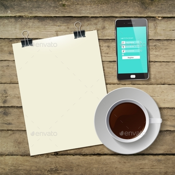 Coffee Cup with Abstract Tablet
