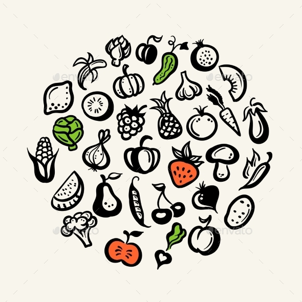 GraphicRiver Set of Fruit and Vegetables Icons 9645663