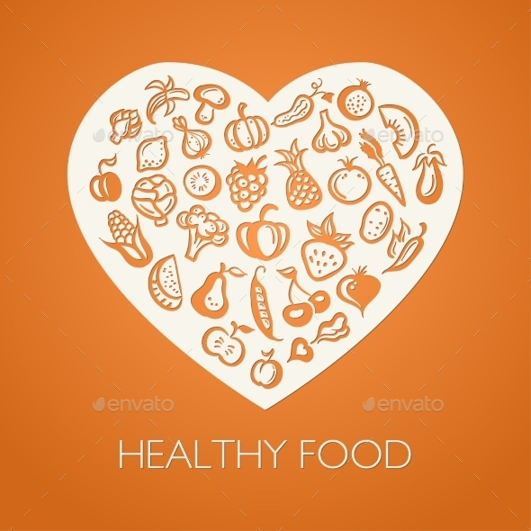 GraphicRiver Fruits and Vegetables Heart 9645674