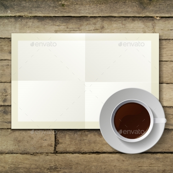 GraphicRiver Cup of Coffee and Note Paper 9645857