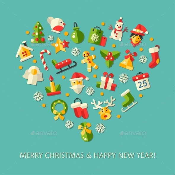 GraphicRiver Christmas and Happy New Year Heart 9646450