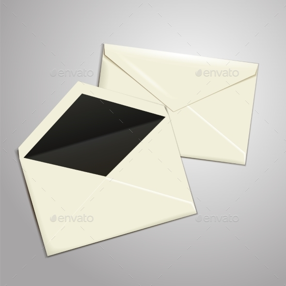 GraphicRiver Blank White Envelopes Opened and Closed 9646734