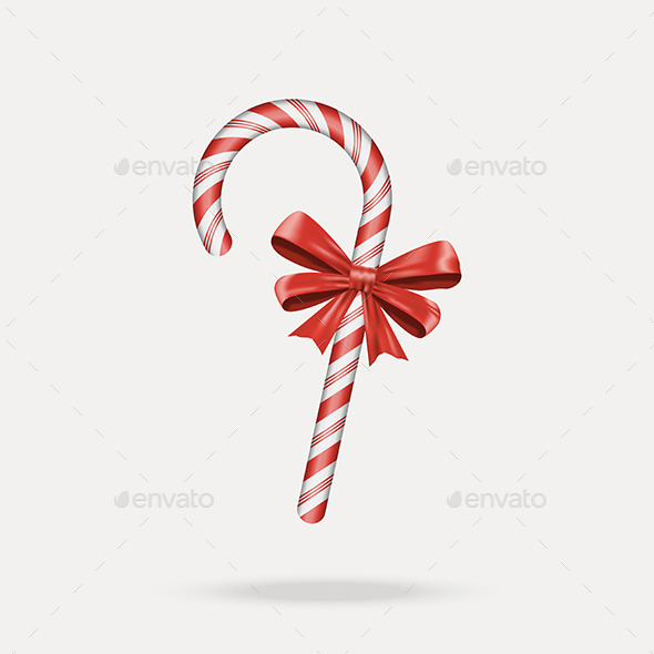 GraphicRiver Christmas Candy Cane with Red Bow 9647268