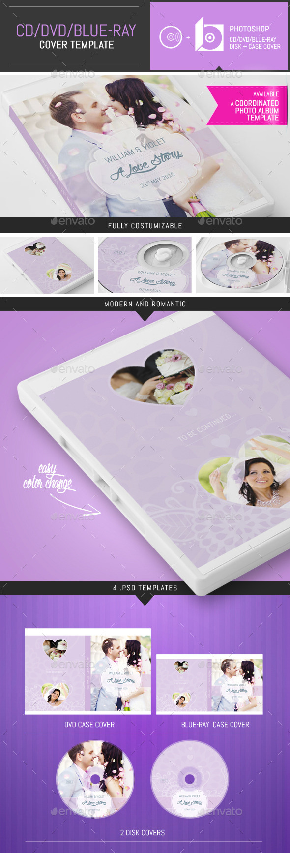 GraphicRiver Elegant Wedding DVD CD Cover Template 9647301