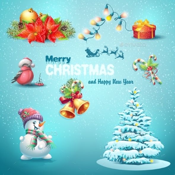 GraphicRiver Set of Christmas Items 9648594