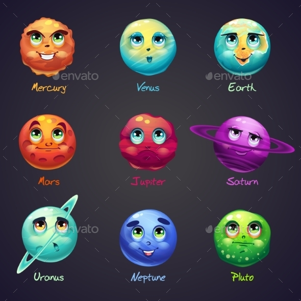 Set of Cartoon Planets of the Solar System