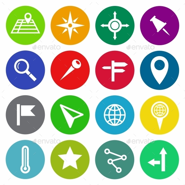 Location and Map Vector Flat Icons