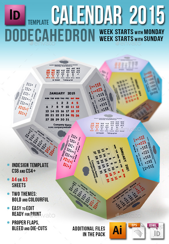 GraphicRiver Calendar 2015 Dodecahedron 9649114