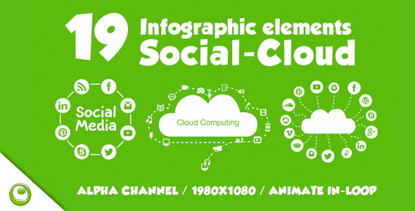 VideoHive 19 Infographics Elements Social Cloud 9649570