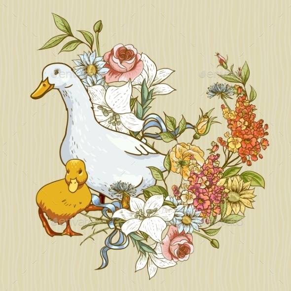 GraphicRiver Background with Ducks and Flowers 9649685