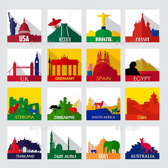 GraphicRiver Popular Sightseeing Spots in the World Icons 9649834