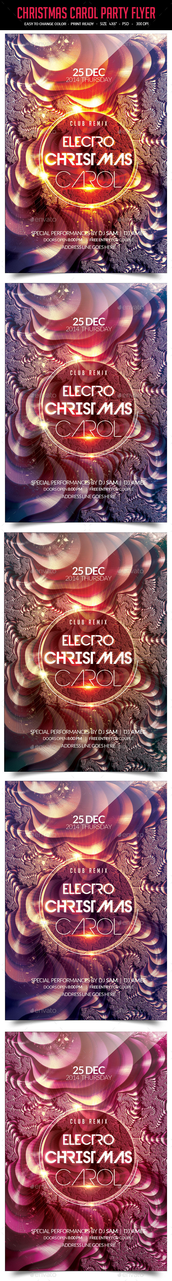 GraphicRiver Electro Christmas Carol Party Flyer 9649882