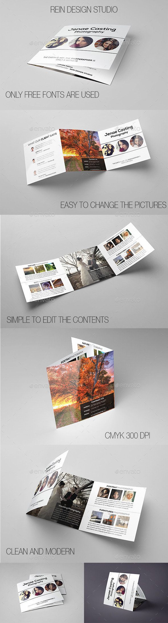 GraphicRiver Minimal Square Photographer Trifolds 9650248