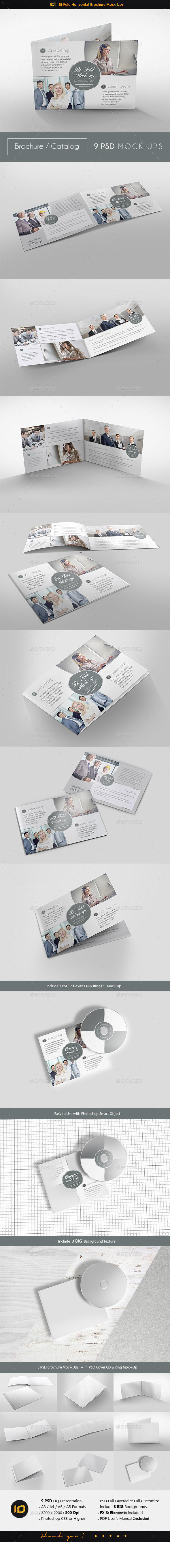 GraphicRiver Bi-Fold Horizontal Brochure Mock-Up 9650422