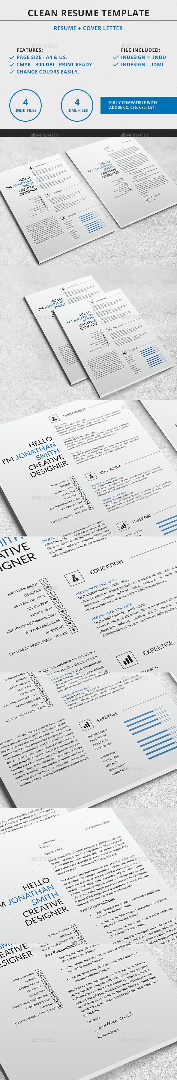 GraphicRiver Clean Resume Template 9650423