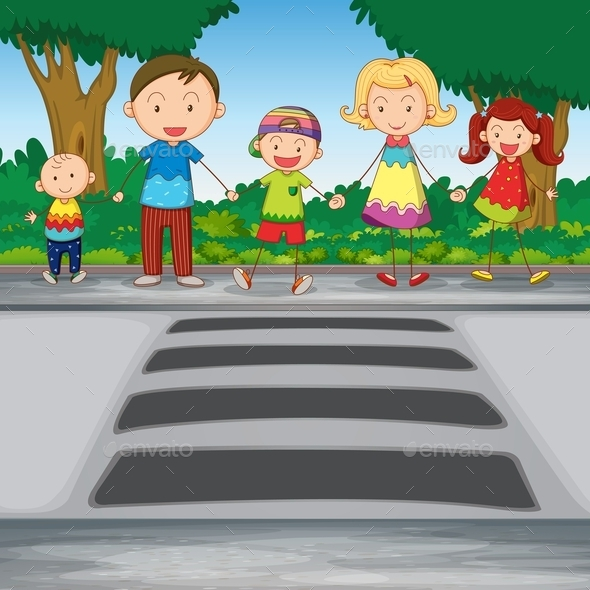 GraphicRiver Family Crossing Road 9651910
