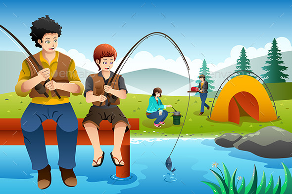 GraphicRiver Family Going Fishing on a Camping Trip 9652325
