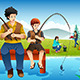 Family Going Fishing on a Camping Trip - GraphicRiver Item for Sale