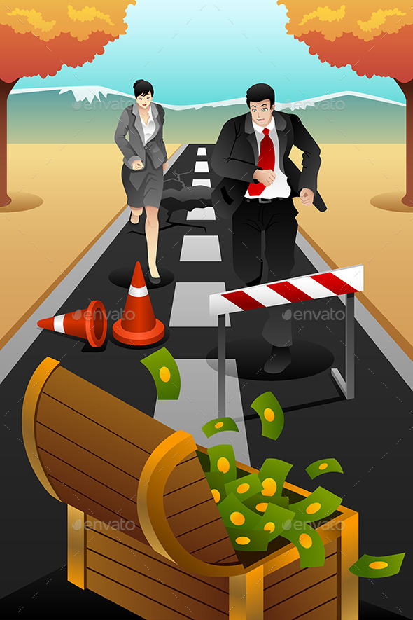 GraphicRiver Business People Running on the Road 9652332