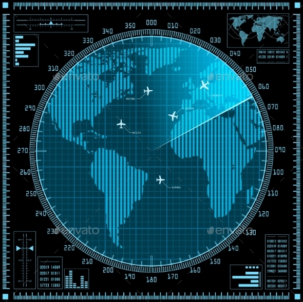 GraphicRiver Blue Radar Screen with Planes and World Map 9652977