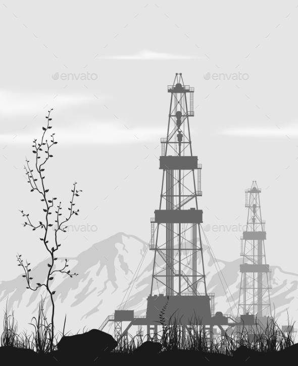 GraphicRiver Oil Rigs Over Mountain Range 9652984