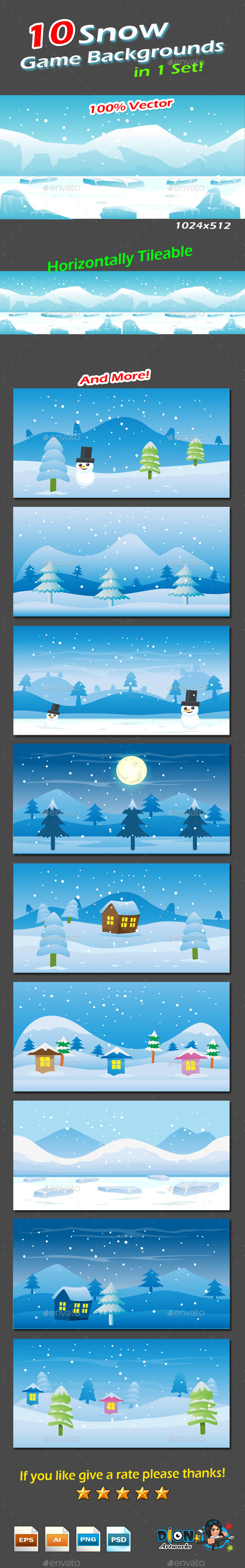 GraphicRiver Snow Game Backgrounds Pack 9652992