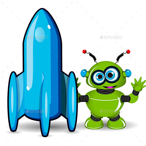 GraphicRiver Green Robot and Rocket 9652996