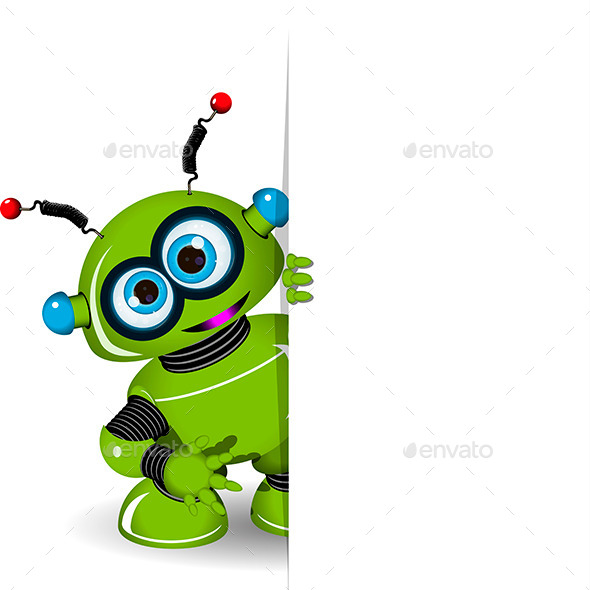 GraphicRiver Green Robot and White Background 9653007