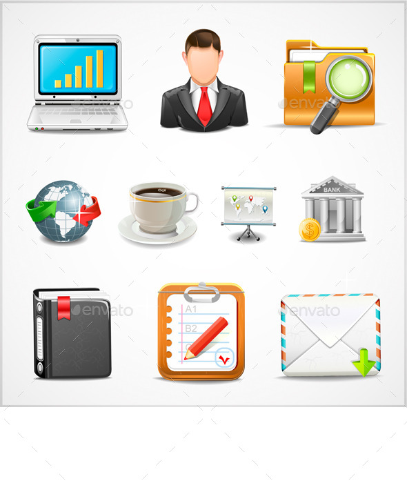 GraphicRiver Icons Workplace Items of Business Vector 9608921