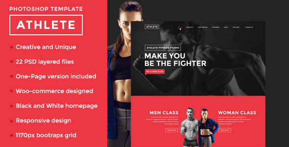ThemeForest Athlete Fitness and Sport PSD Template 9615235