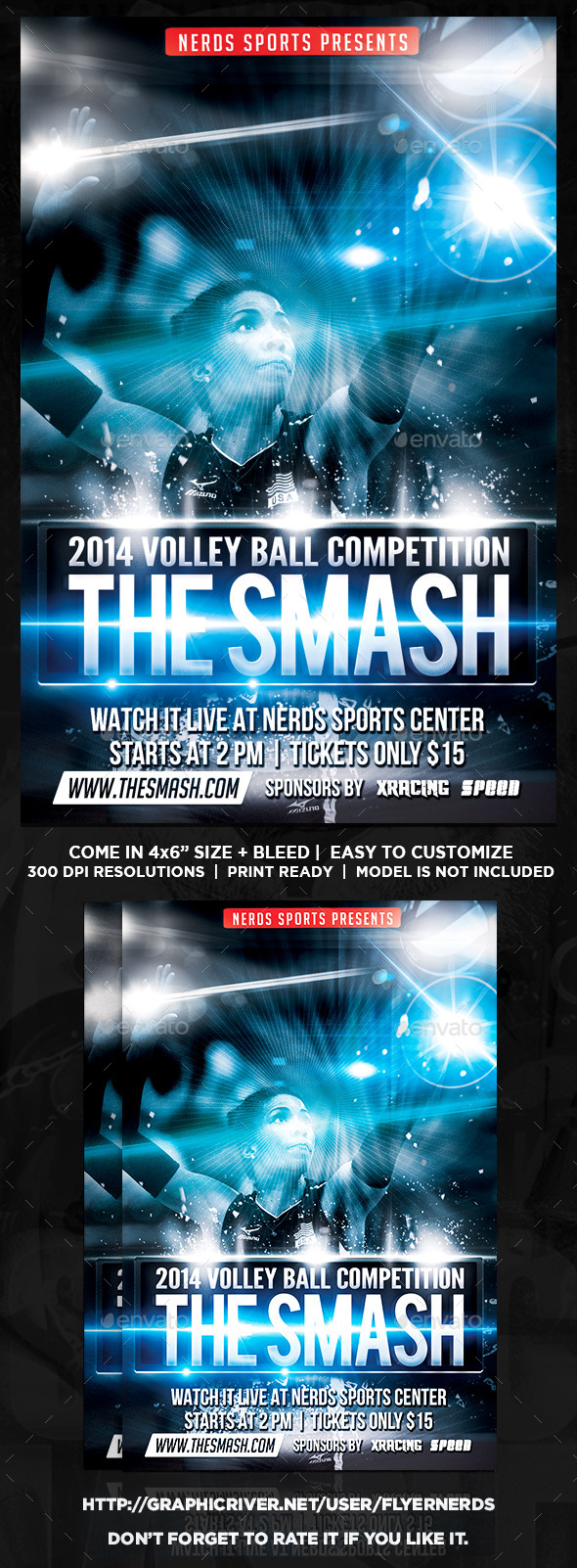 GraphicRiver The Smash Volleyball Sports Flyer 9655505