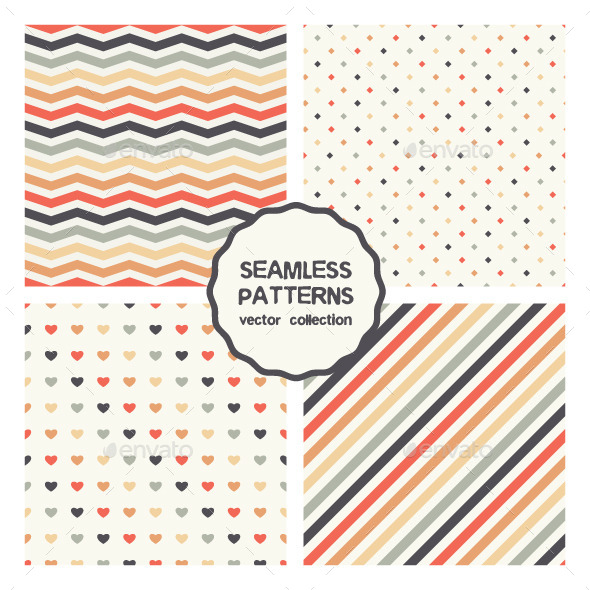 GraphicRiver Vector Set of Four Colorful Seamless Patterns 9601319