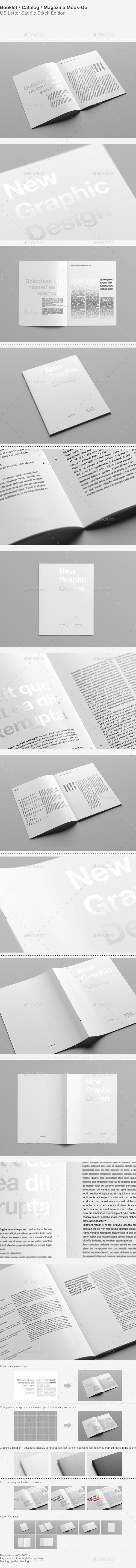 GraphicRiver US Letter Booklet Catalog Magazine Mock-Up 9655741