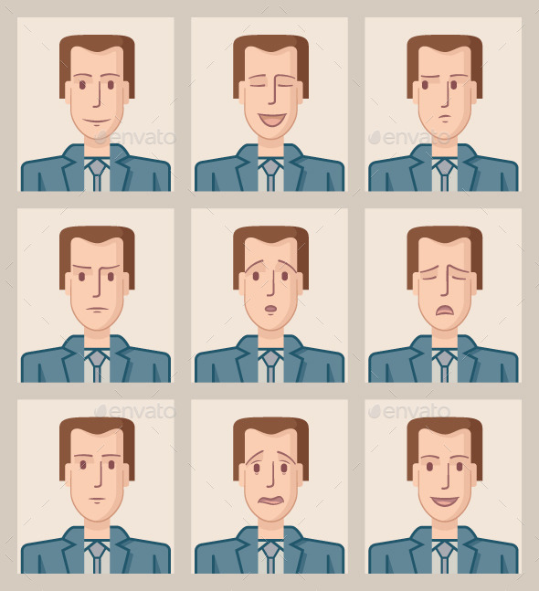 GraphicRiver Facial Expressions of a Businessman 9655764