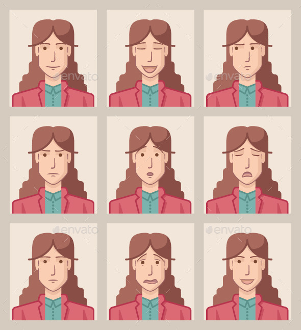 GraphicRiver Facial Expressions of a Businesswoman 9655807