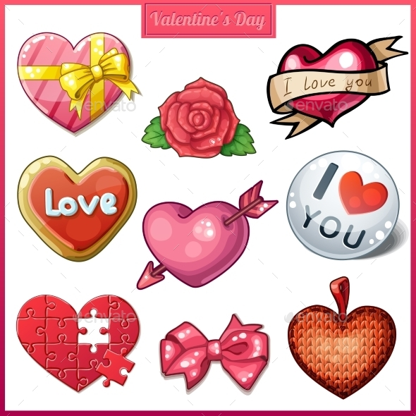 GraphicRiver Set of Candy Heart Icons for Valentine s Day 9655835