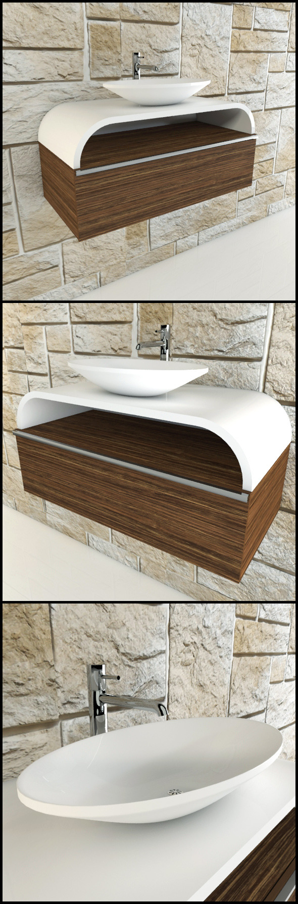 Toilet basin with chrome tap and wood panels