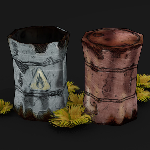 BARRELS LOW POLY TOON - 3DOcean Item for Sale