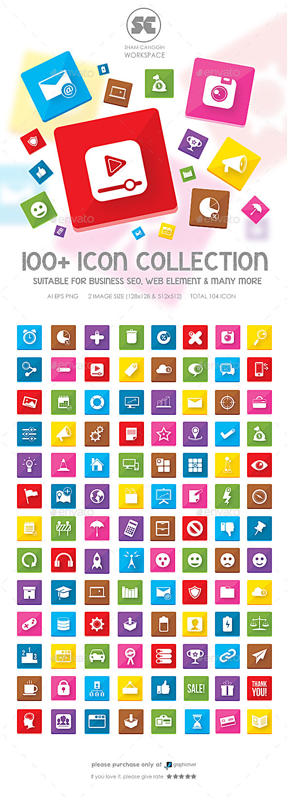 GraphicRiver 100 Flat Icons 9615266