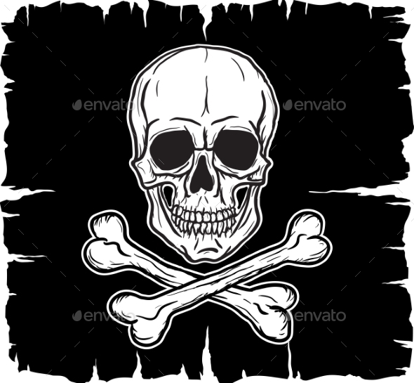GraphicRiver Skull and Crossbones Over Black Flag 9656014