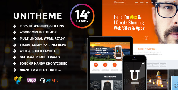 Main Features: Wordpress 4.x fully tested 100% Responsive Retina Ready Flexible 1170 grid system Fully Customizable with Tons of Options Visual Composer 4.3.x