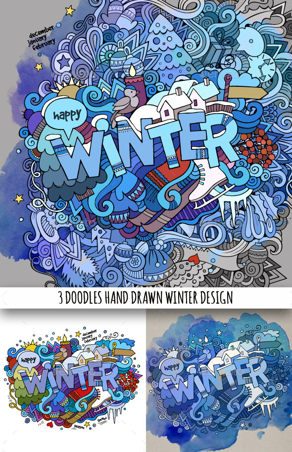 GraphicRiver 3 Winter Doodles Designs 9638277