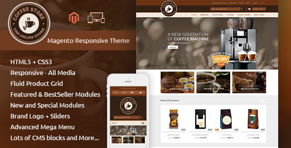 ThemeForest Coffee Magento Responsive Theme 9604892