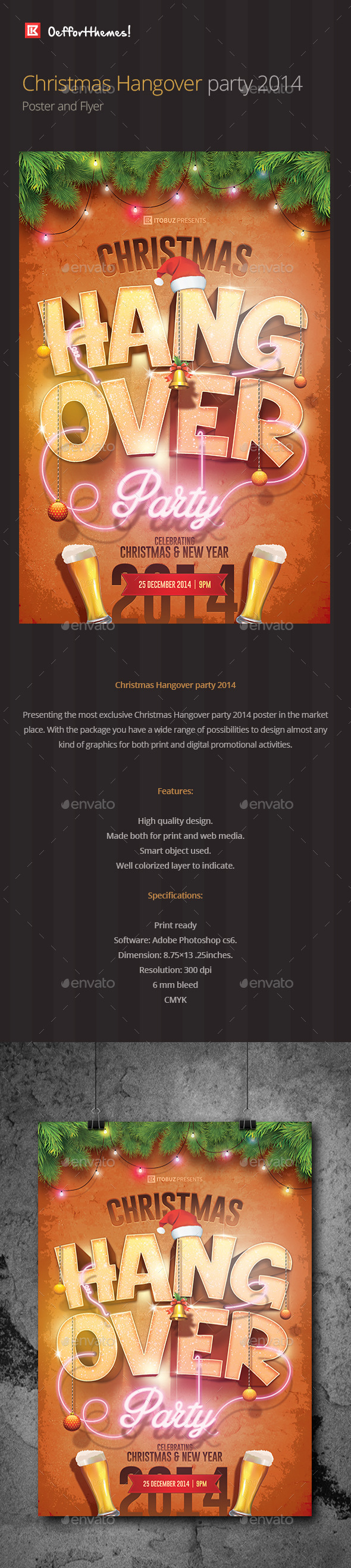GraphicRiver Christmas Hangover Party Poster and Flyer 9656756