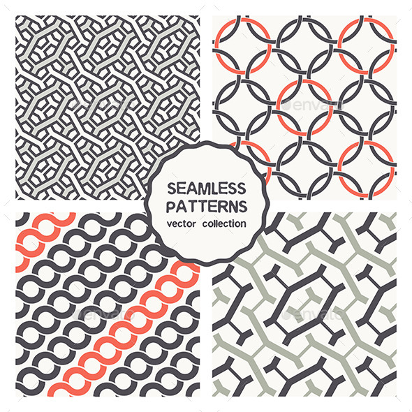 GraphicRiver Vector Set of Four Geometric Seamless Patterns 9656871