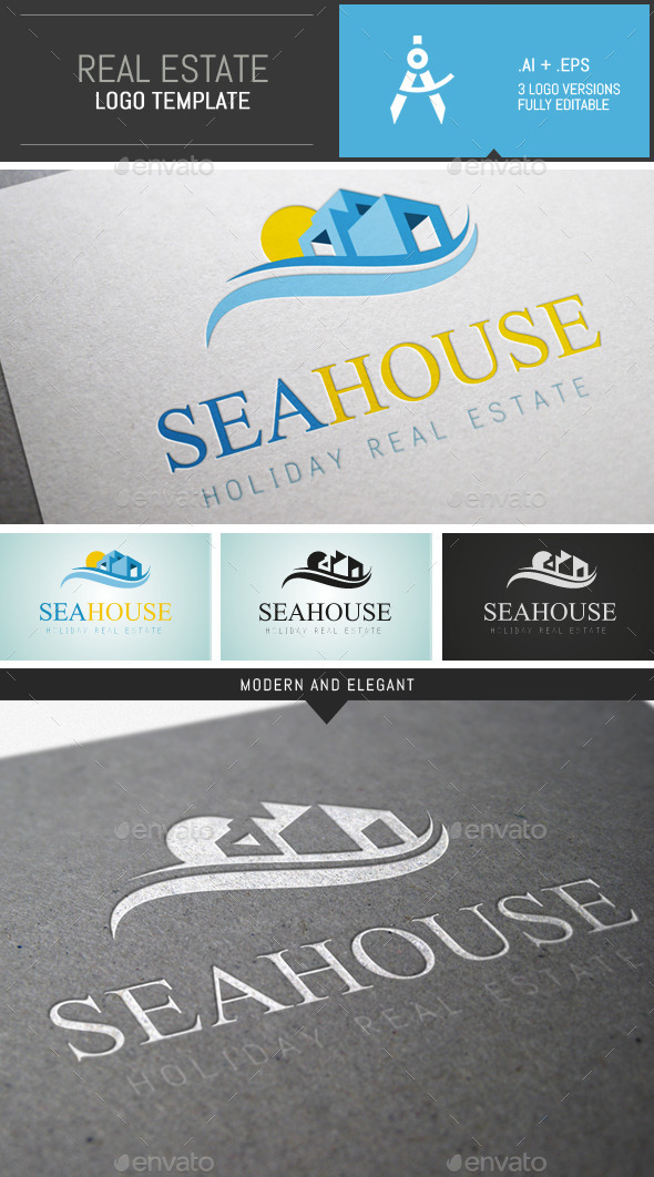 GraphicRiver Elegant Holiday Real Estate Logo Template 9656919